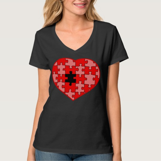 Heart Puzzle Missing a Piece Women's Hanes Nano V-Neck T-Shirt