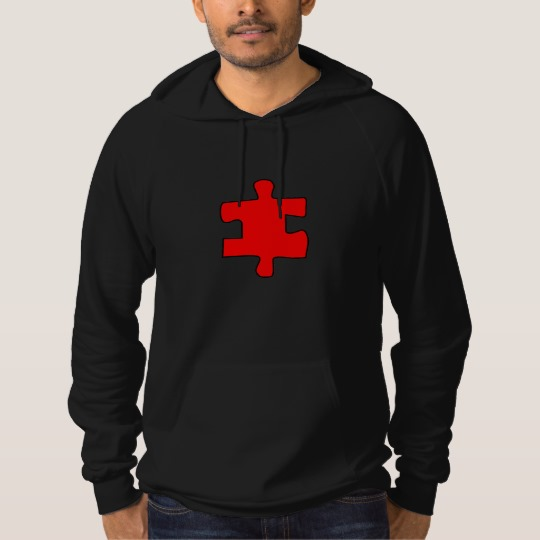 Red Missing Jigsaw Piece American Apparel California Fleece Pullover Hoodie