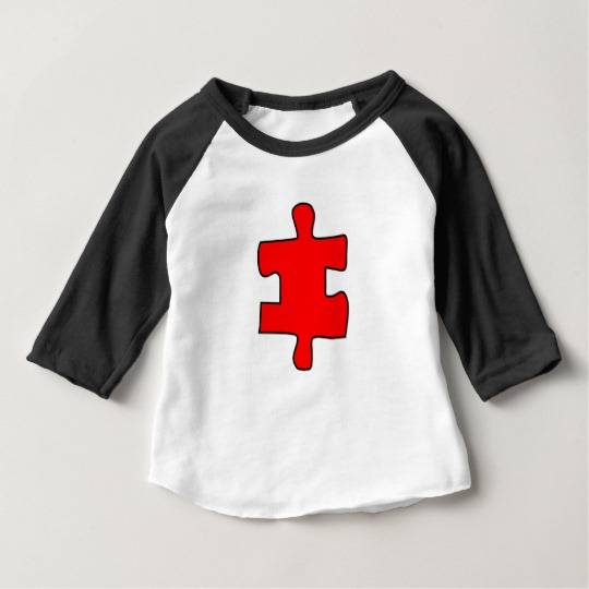 Red Missing Jigsaw Piece Baby American Apparel 3/4 Sleeve Raglan T-Shirt