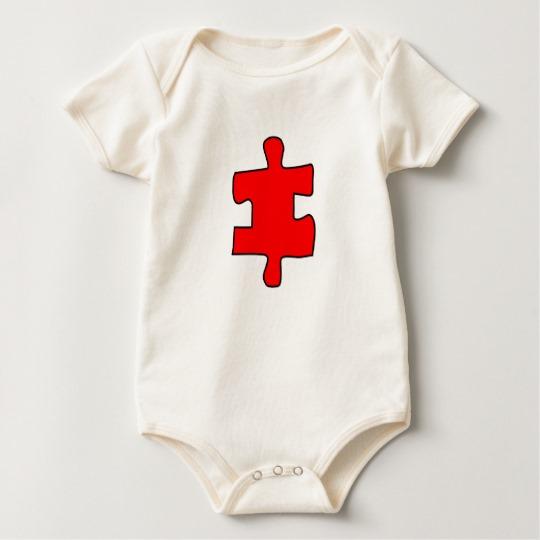 Red Missing Jigsaw Piece Baby American Apparel Organic Bodysuit