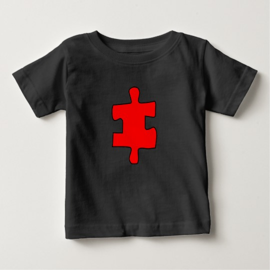 Red Missing Jigsaw Piece Baby Fine Jersey T-Shirt