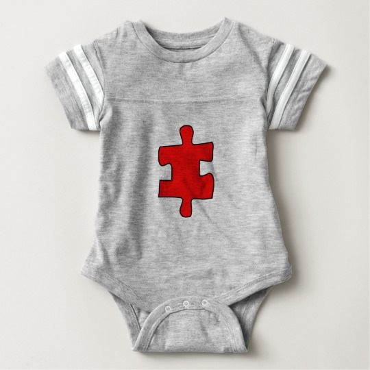 Red Missing Jigsaw Piece Baby Football Bodysuit