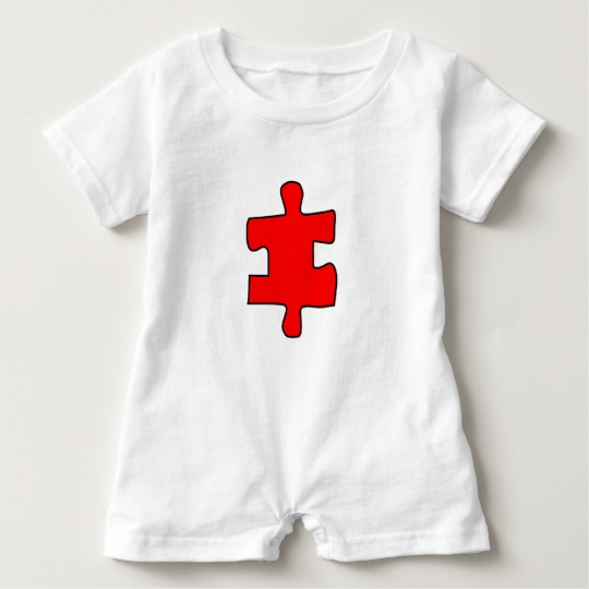 Red Missing Jigsaw Piece Baby Romper