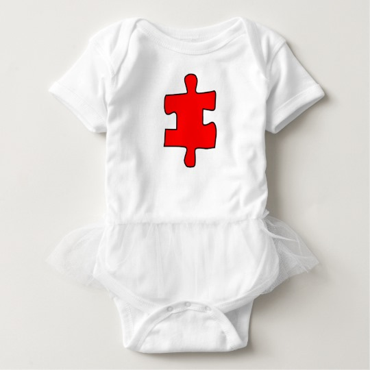 Red Missing Jigsaw Piece Baby Tutu Bodysuit