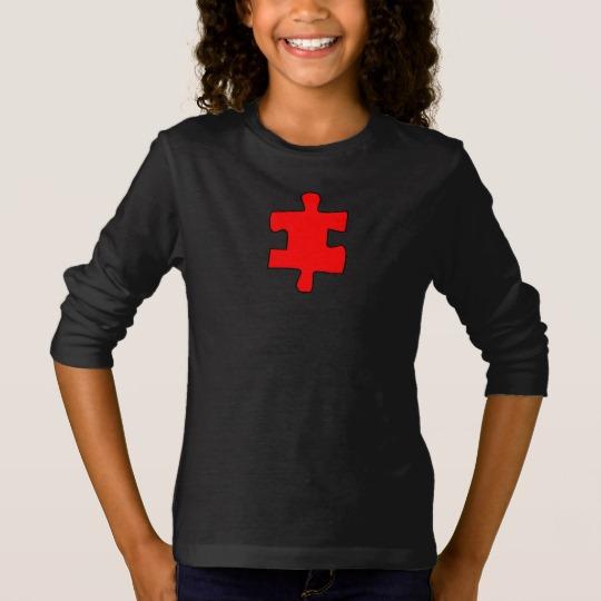 Red Missing Jigsaw Piece Girls' Basic Long Sleeve T-Shirt