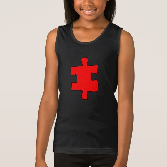 Red Missing Jigsaw Piece Girls' Fine Jersey Tank Top