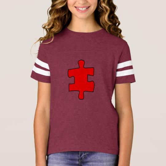 Red Missing Jigsaw Piece Girls' Football Shirt