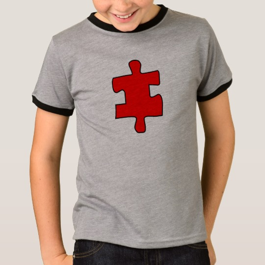 Red Missing Jigsaw Piece Kids' Basic Ringer T-Shirt