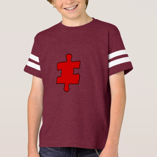Red Missing Jigsaw Piece Kids' Football Shirt