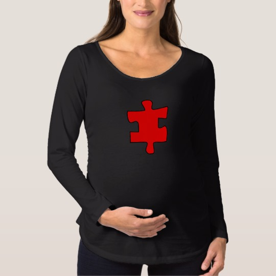 Red Missing Jigsaw Piece Maternity Long Sleeve T-Shirt