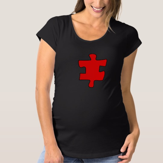 Red Missing Jigsaw Piece Maternity T-Shirt