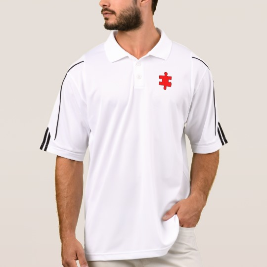 Red Missing Jigsaw Piece Men's Adidas Golf  ClimaLite® Polo Shirt