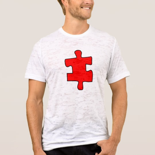 Red Missing Jigsaw Piece Men's Canvas Fitted Burnout T-Shirt