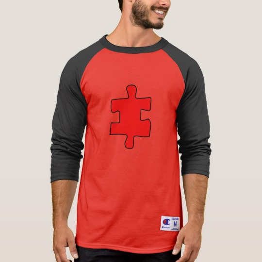 Red Missing Jigsaw Piece Men's Champion 3/4 Sleeve Raglan T-Shirt