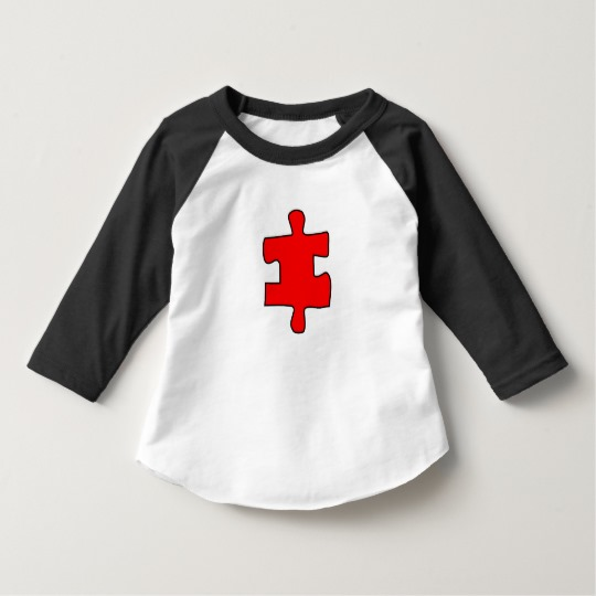Red Missing Jigsaw Piece Toddler American Apparel 3/4 Sleeve Raglan T-Shirt