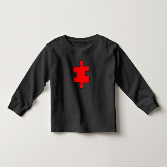 Red Missing Jigsaw Piece Toddler Long Sleeve T-Shirt