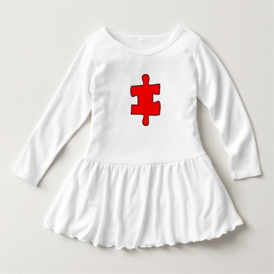 Red Missing Jigsaw Piece Toddler Ruffle Dress
