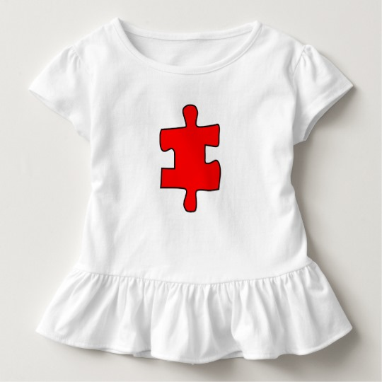 Red Missing Jigsaw Piece Toddler Ruffle Tee