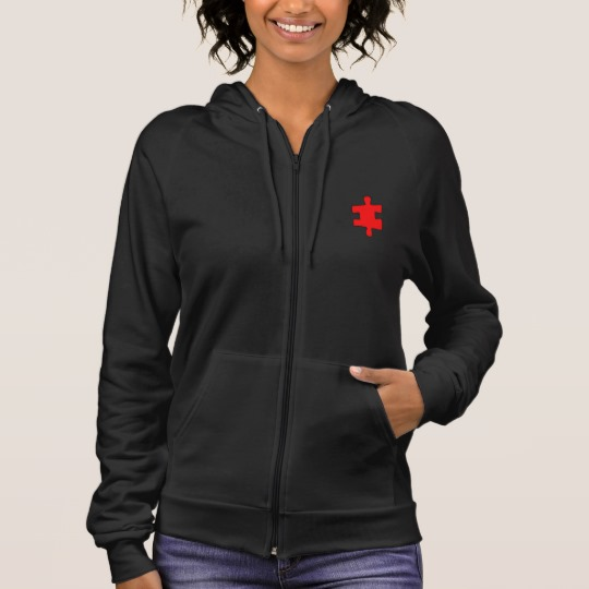 Red Missing Jigsaw Piece Women's American Apparel California Fleece Zip Hoodie