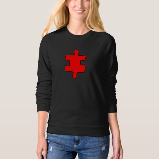 Red Missing Jigsaw Piece Women's American Apparel Raglan Sweatshirt