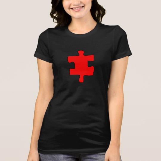 Red Missing Jigsaw Piece Women's Bella+Canvas Favorite Jersey T-Shirt