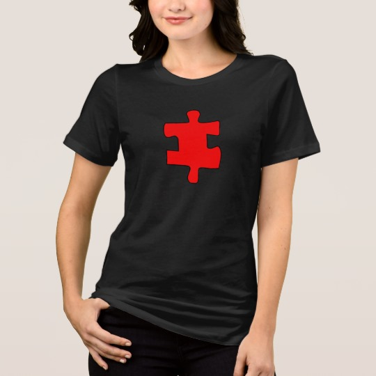 Red Missing Jigsaw Piece Women's Bella+Canvas Relaxed Fit Jersey T-Shirt