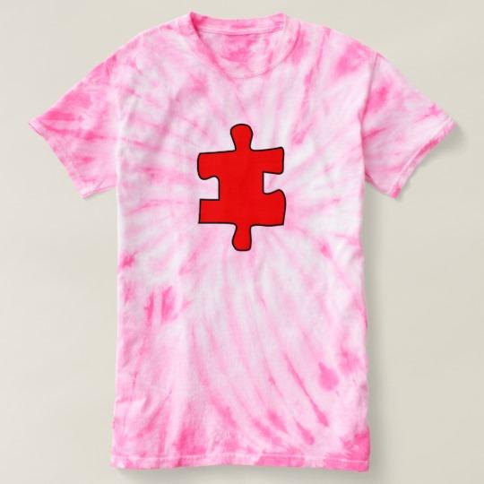 Red Missing Jigsaw Piece Women's Cyclone Tie-Dye T-Shirt