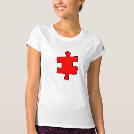 Red Missing Jigsaw Piece Women's New Balance T-Shirt