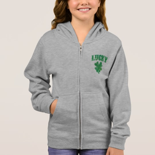 Lucky 4 Leaf Clover Girl's Basic Zip Hoodie