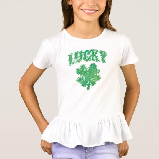 Lucky 4 Leaf Clover Girls' Ruffle T-Shirt