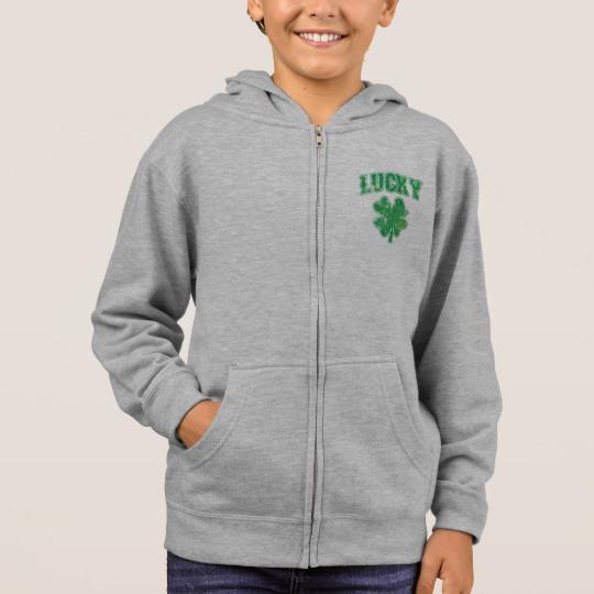 Lucky 4 Leaf Clover Kids' Basic Zip Hoodie