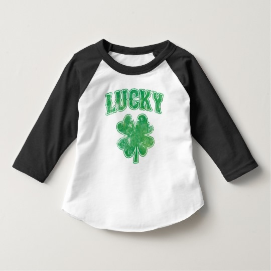 Lucky 4 Leaf Clover Toddler American Apparel 3/4 Sleeve Raglan T-Shirt