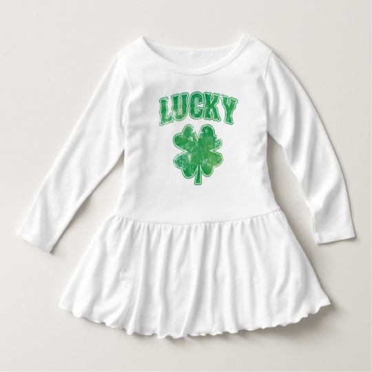 Lucky 4 Leaf Clover Toddler Ruffle Dress