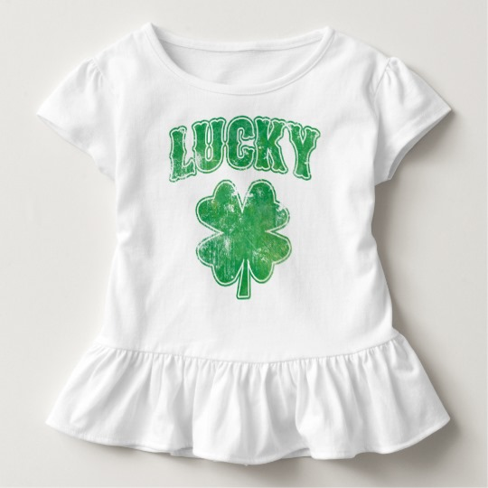 Lucky 4 Leaf Clover Toddler Ruffle Tee