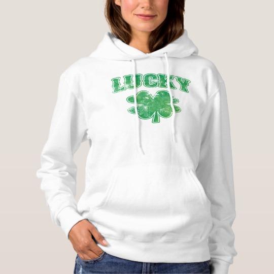 Lucky 4 Leaf Clover Women's Basic Hooded Sweatshirt