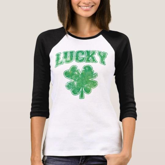Lucky 4 Leaf Clover Women's Bella+Canvas 3/4 Sleeve Raglan T-Shirt