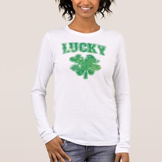 Lucky 4 Leaf Clover Women's Bella+Canvas Long Sleeve T-Shirt