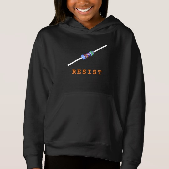 Resist with Resistor Girls' Fleece Pullover Hoodie