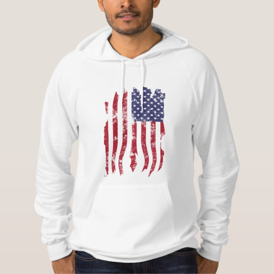 Vintage Distressed Tattered US Flag American Apparel California Fleece Pullover Hoodie
