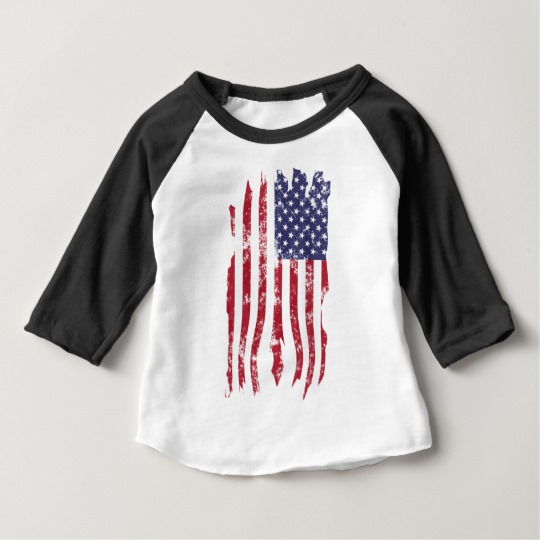 Vintage Distressed Tattered US Flag Baby American Apparel 3/4 Sleeve Raglan T-Shirt