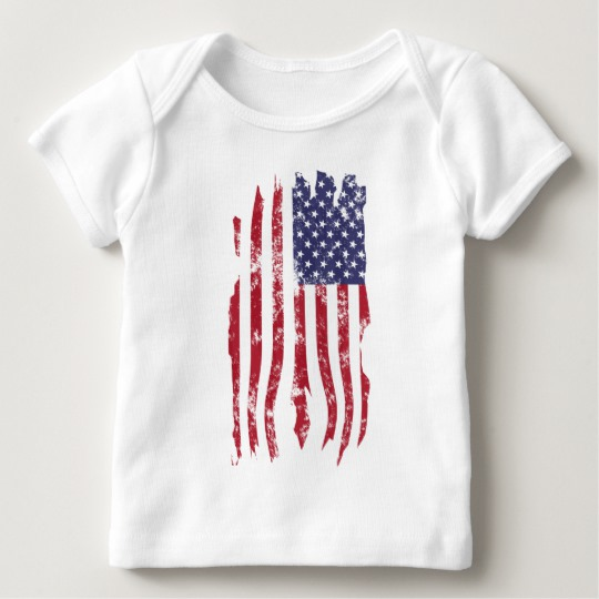 Vintage Distressed Tattered US Flag Baby American Apparel Lap T-Shirt