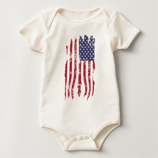Vintage Distressed Tattered US Flag Baby American Apparel Organic Bodysuit