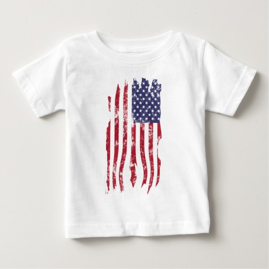 Vintage Distressed Tattered US Flag Baby Fine Jersey T-Shirt