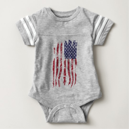 Vintage Distressed Tattered US Flag Baby Football Bodysuit