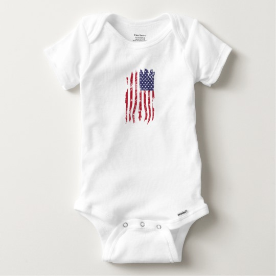 Vintage Distressed Tattered US Flag Baby Gerber Cotton Onesie