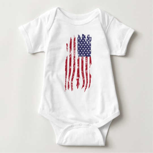 Vintage Distressed Tattered US Flag Baby Jersey Bodysuit