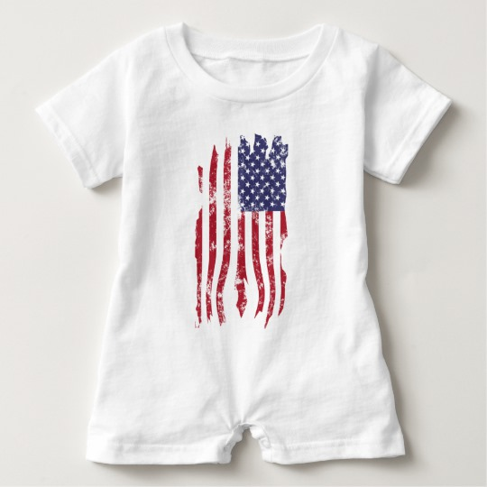 Vintage Distressed Tattered US Flag Baby Romper