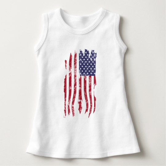 Vintage Distressed Tattered US Flag Baby Sleeveless Dress
