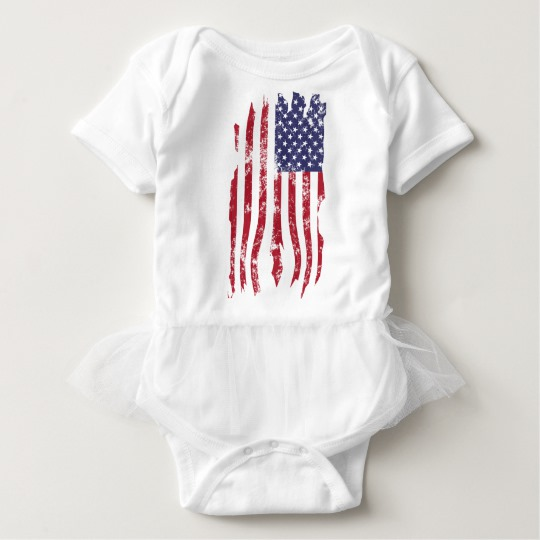 Vintage Distressed Tattered US Flag Baby Tutu Bodysuit