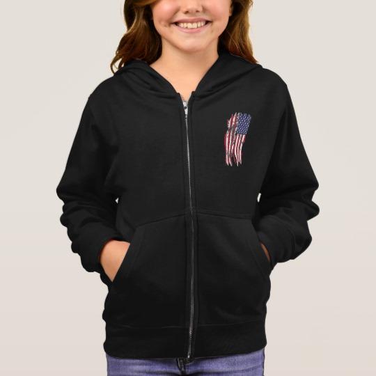 Vintage Distressed Tattered US Flag Girl's Basic Zip Hoodie